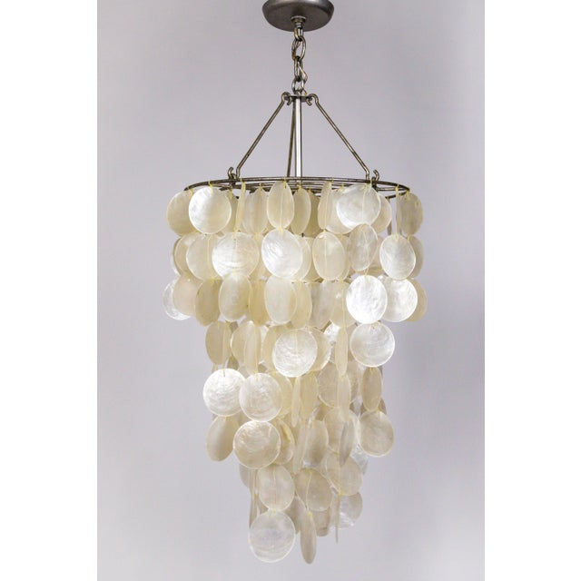 Fine Cascading Capiz Shell Pendant For Sale In San Francisco - Image 6 of 9