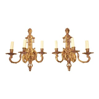 French Louis XV Style Bronze 3-Lite Sconces - a Pair For Sale