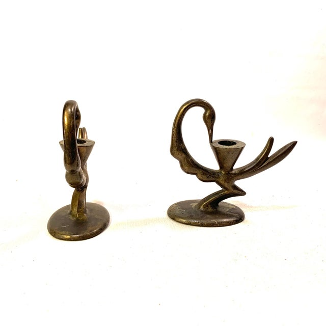Art Deco Art Deco Bronzed Iron Peacock Candle Holders - a Pair For Sale - Image 3 of 7