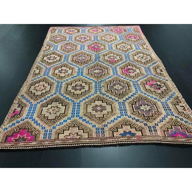 1960s 1960s Vintage Primitive Nomadic Aztec Turkish Traditional Wool Handmade Kilim Rug- 6′ × 8′8″ For Sale - Image 5 of 11