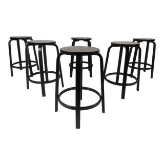 Contemporary Modern Alvar Aalto Stools - Set of 6 For Sale