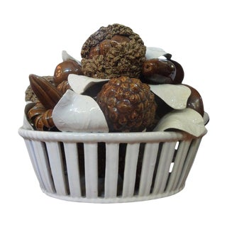 Italian Glazed Ceramic Basket of Mushrooms For Sale