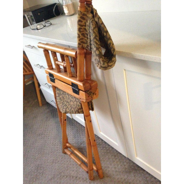 Directors Chairs From Telescope Chair, Leopard Print Fabric, Midcentury, Pair For Sale - Image 11 of 13