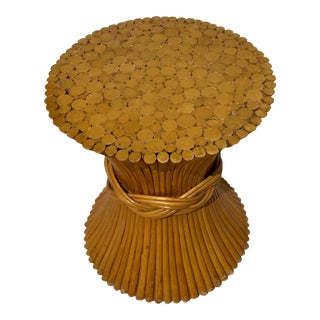 Vintage McGuire Bamboo Sheaf Side Table / Base For Sale