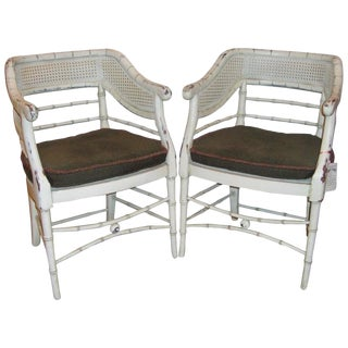 Pair of Swedish Faux Bamboo Chairs With Distressed White Paint For Sale