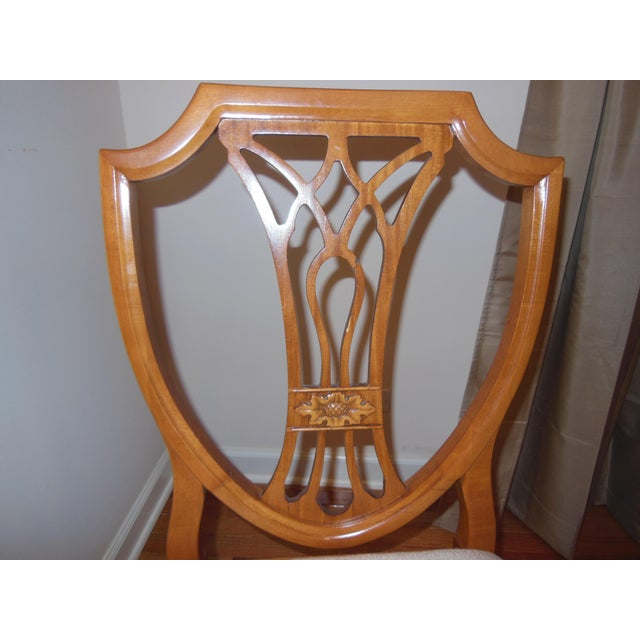 Glass 1930's Myrtlewood Dining Table and Chairs (1 of 3 Listings) For Sale - Image 7 of 11