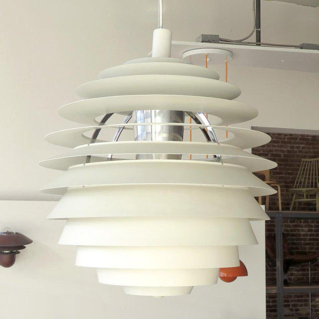 White 1960s Poul Henningsen Ph Louvre Pendant Light For Sale - Image 8 of 11