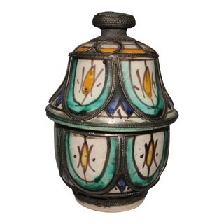 Mid 20th Century Morrocan Tagine Votive Terracotta Jar For Sale