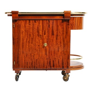 Hungarian Mid-Century Modern Mahogany Bar Cart For Sale