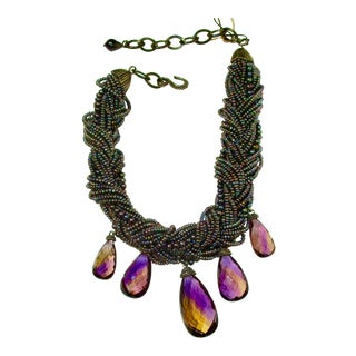 Stephen Dweck Jewelry Multi Strand Woven Iridescent Pearls With Graduated Amethyst Briollets For Sale