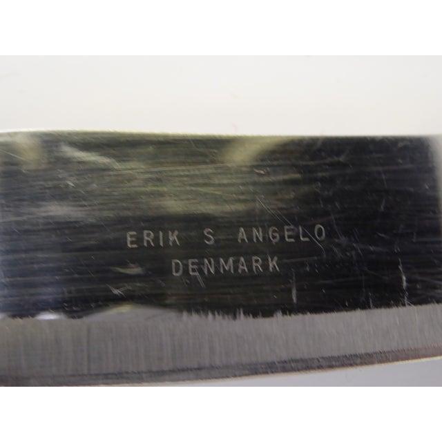 Metal 1960s Vintage ESA by Erik S. Angelo Danish Modern Teak Stainless Carving Set- A Pair For Sale - Image 7 of 9