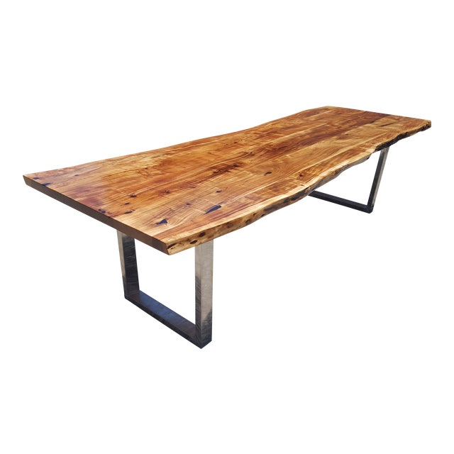 Acacia Wood Live Edge Dining Table - Image 1 of 8