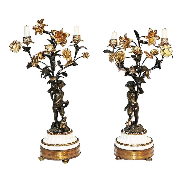 French Dore'-Bronze Candleabras - A Pair For Sale
