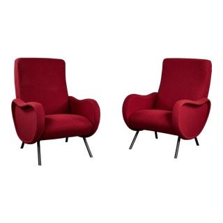 "Pair of Sculptural Italian Armchairs in the Manner of Marco Zanuso's ""Lady"" For Sale"