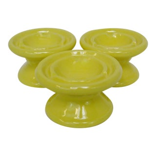 Yellow Ceramic Ashtrays - Set of 3 For Sale