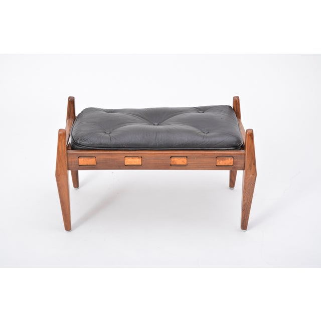 Brown Black Vintage Leather Ottoman/ Foot Stool, Attributed to Sergio Rodrigues For Sale - Image 8 of 12