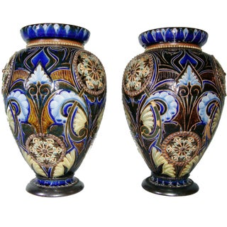Late 19th Century Antique Doulton Lambeth Vases- A Pair For Sale