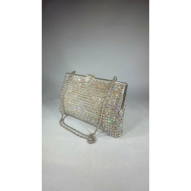 Boho Chic Vintage Swarovski Crystal Evening Bag With Hidden Chain For Sale - Image 3 of 6