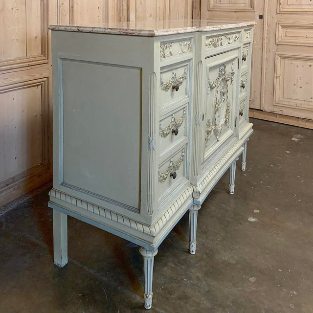 French Antique Italian Louis XVI Painted Dresser ~ Linen Press For Sale - Image 3 of 13