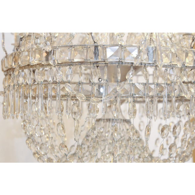 Metal Large Eight-Light Crystal Chandelier For Sale - Image 7 of 8