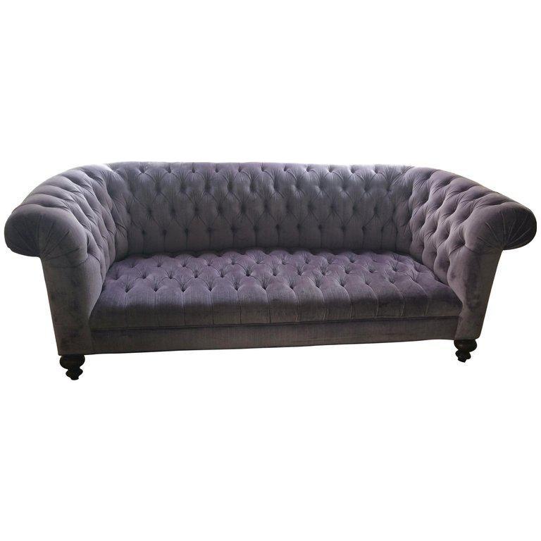 Lavender Tufted Velvet Chesterfield Sofa For Sale