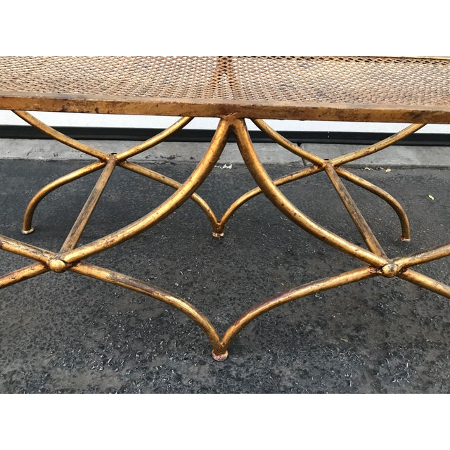 Italian Gilt Metal Rope and Tassel Double X Base Bench - Image 7 of 9