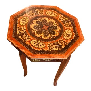 Italian Octagon Inlaid Music Storage Side Table For Sale