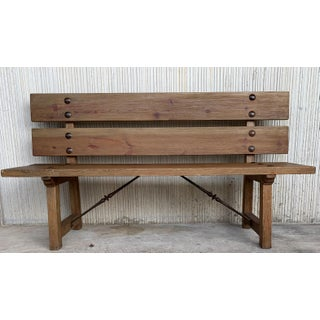 20th Spanish Park or Garden Bench With Wood Slabs & Iron Stretcher Preview
