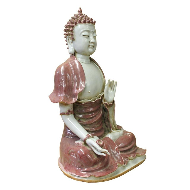 Vintage Chinese Sitting Buddha With Bowl Statue For Sale - Image 4 of 7