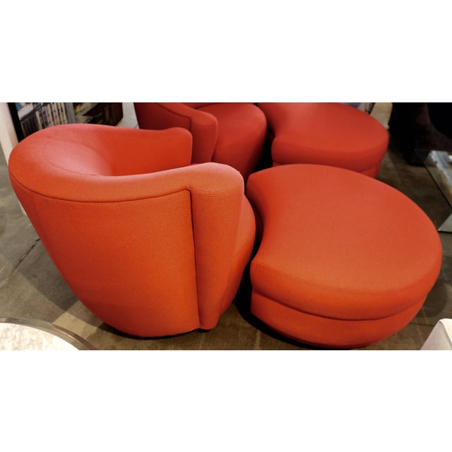 Mid 20th Century Vladimir Kagan for Weiman Chairs With Large Ottomans With Labels- A Pair For Sale - Image 5 of 12