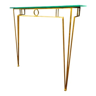 Marc Duplantier Gold Leaf Wrought Iron Console With a Mirrored Glass Top For Sale