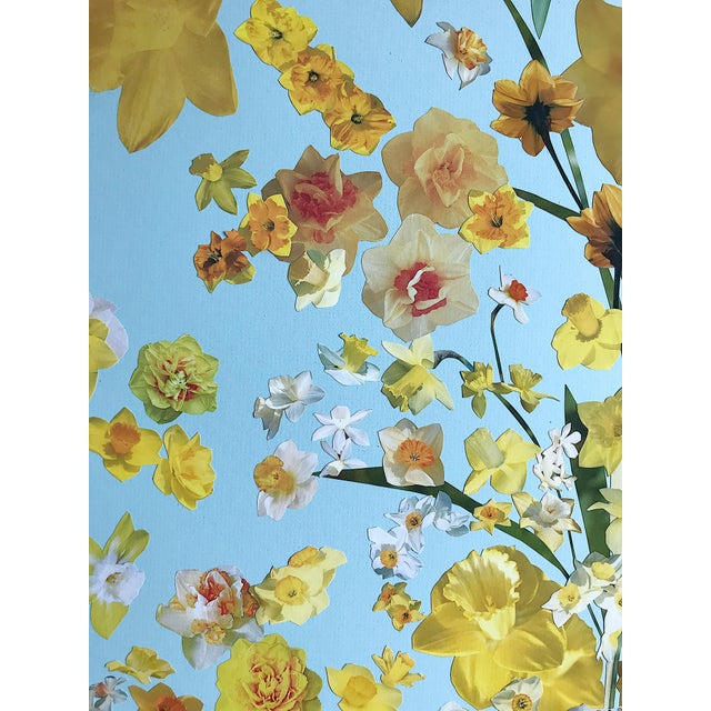"""Marcy Cook """"Vase of Daffodils"""" Original Fine Art Collage For Sale - Image 4 of 7"""