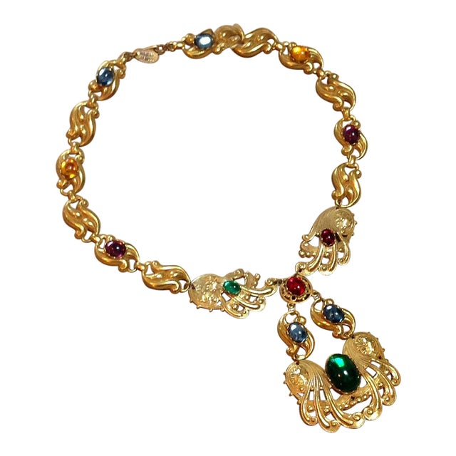 Vintage Miriam Haskell Gold Multi Color Glass Stones Swirl Design Necklace 1950s For Sale