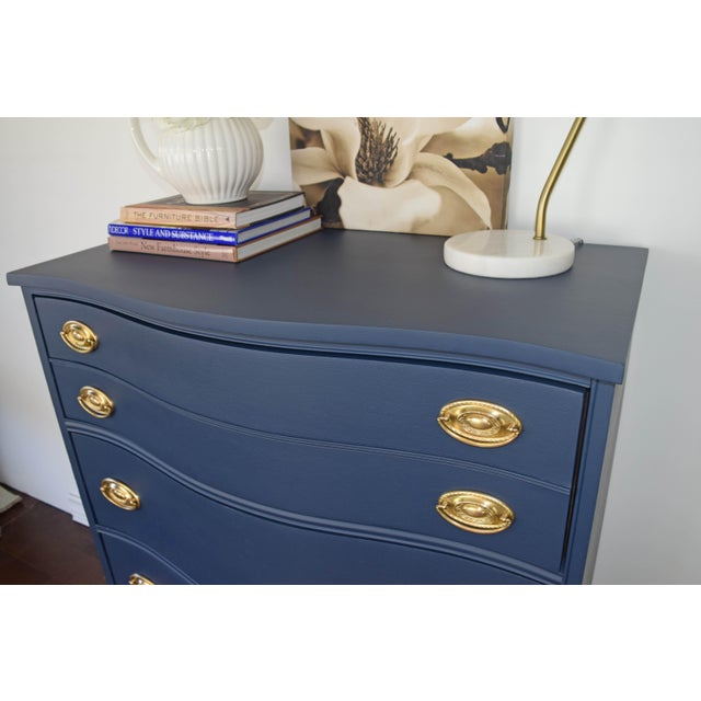 Bassett Serpentine Flat Navy-Blue and Gold Highboy Dresser - Image 6 of 11