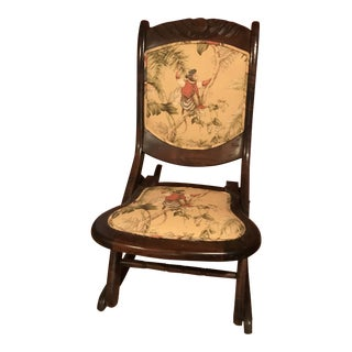 Antique Monkey Fabric Folding Rocking Chair For Sale
