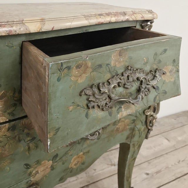 19th Century French Louis XV Painted Marble Top Commode For Sale In Dallas - Image 6 of 13