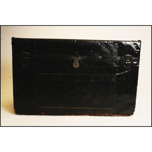 Victorian Antique Black Steamer Trunk - Image 3 of 11