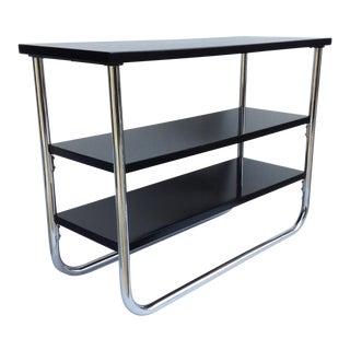 Vintage Bauhaus Era Chrome & Wood Side Table