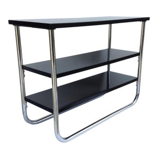 Vintage C1930s Bauhaus Era Chrome & Wood Side Table For Sale