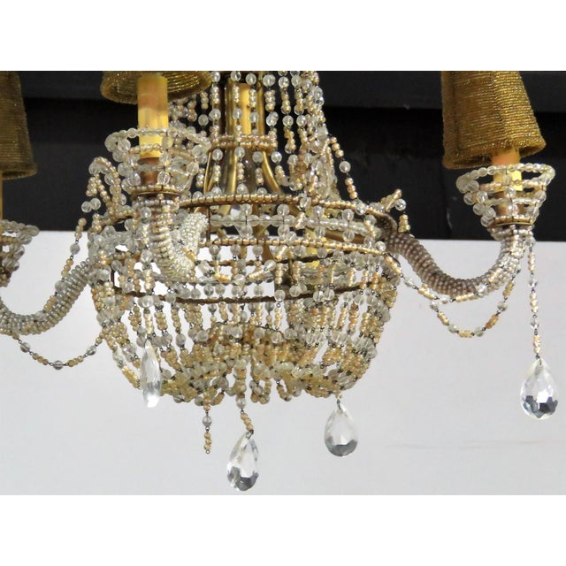 Petite French Empire Style Beaded Chandelier - Image 4 of 6