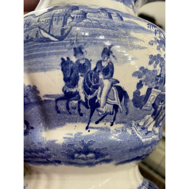 Early 19th Century Large Antique Early 19th Century Blue and White Staffordshire Transferware Pitcher For Sale - Image 5 of 9