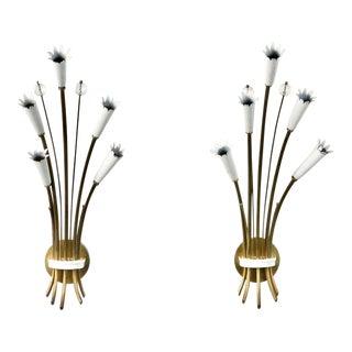 Pair Italian Stilnovo Style Brass and Enamel Sconces For Sale
