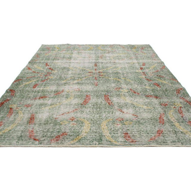 Abstract Distressed Vintage Turkish Sivas Rug with Art Deco Style For Sale - Image 3 of 5