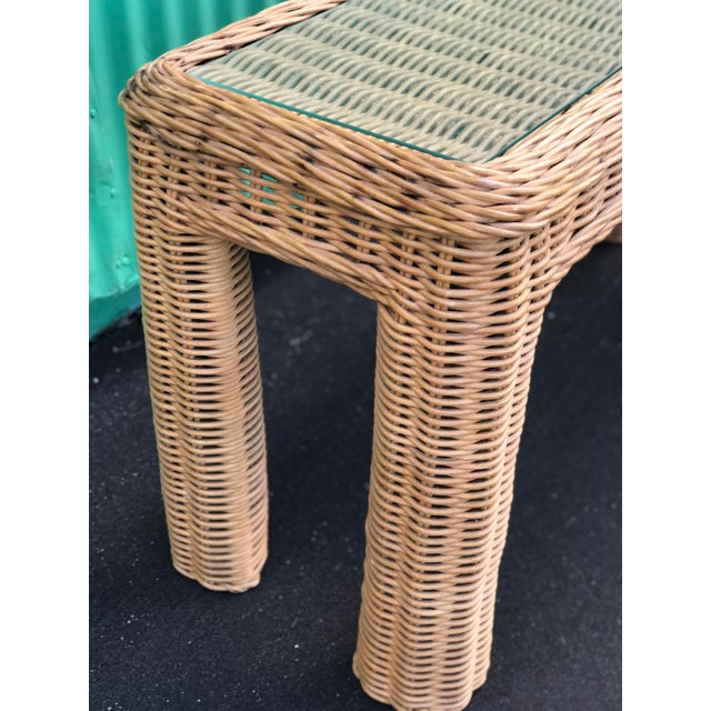 VintageBraid Wicker Console Table For Sale - Image 9 of 11