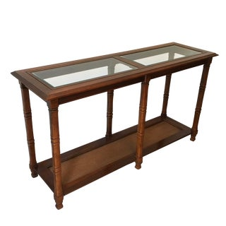 1960's Mid-Century Modern Cane and Fruitwood Console Table