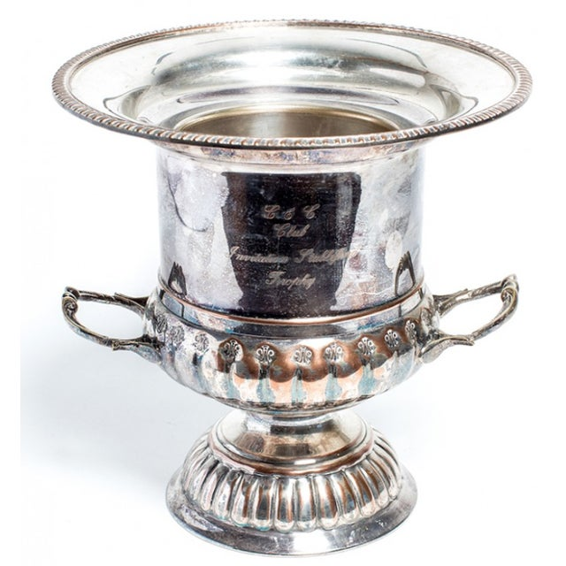 Antique late 19th century silver champagne bucket with handles.