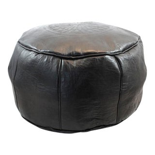 Moroccan Leather Black Pouf For Sale