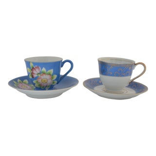 1940s Japanese Fine Bone China Small Cups & Saucers - a Pair For Sale