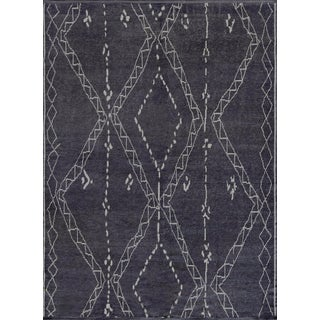 Mansour Modern Handwoven Moroccan Inspired Wool Rug For Sale