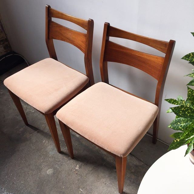 Mid-Century Velvet & Walnut Dining Chairs - Set of 4 - Image 7 of 10